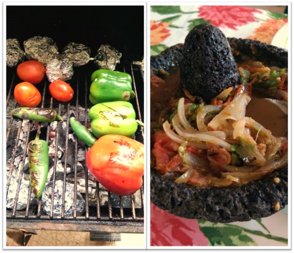 Let those jalapenos burn,  and destroy in that mortar, add some caramelized onions to the salsa and a splash of lime juice.